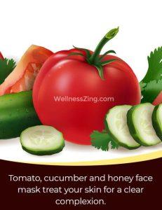 Tomato, Cucumber and Honey Face Mask