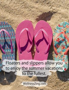 Floater and slippers are ideal for summer beach vacation