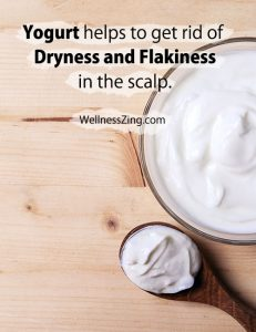 Yogurt helps to get rid of dryness and flakiness in the scalp