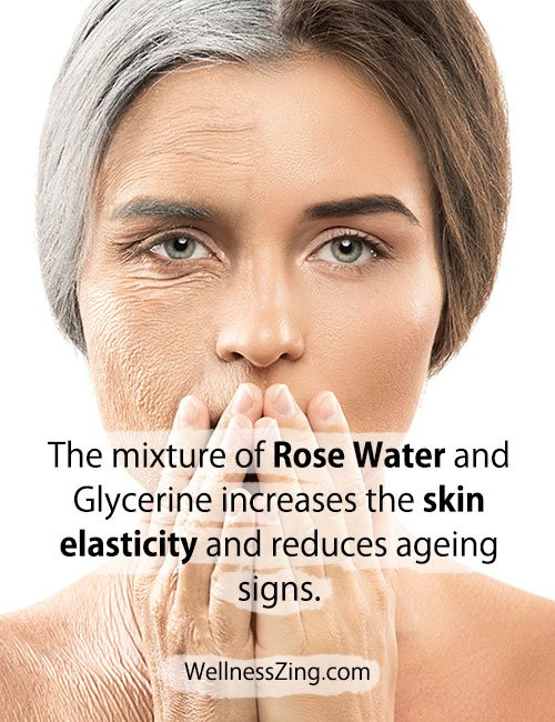 Mixture of Rose Water and Glycerine Helps Reduce Ageing Signs