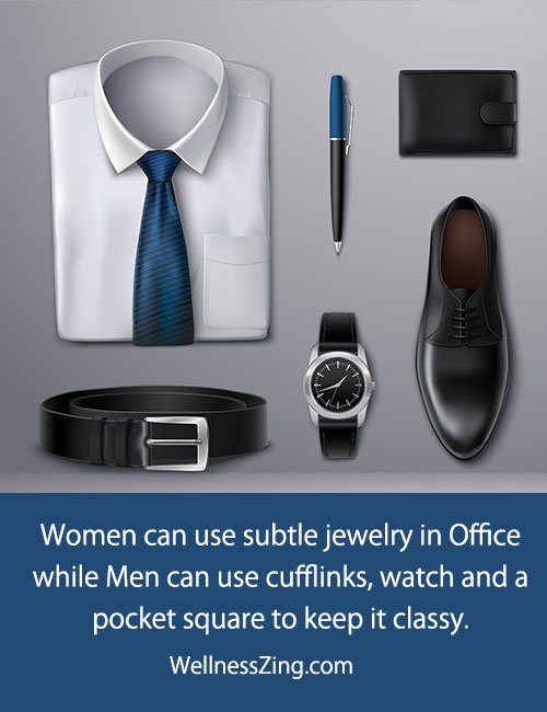 Accessories with office attire should be chosen carefully