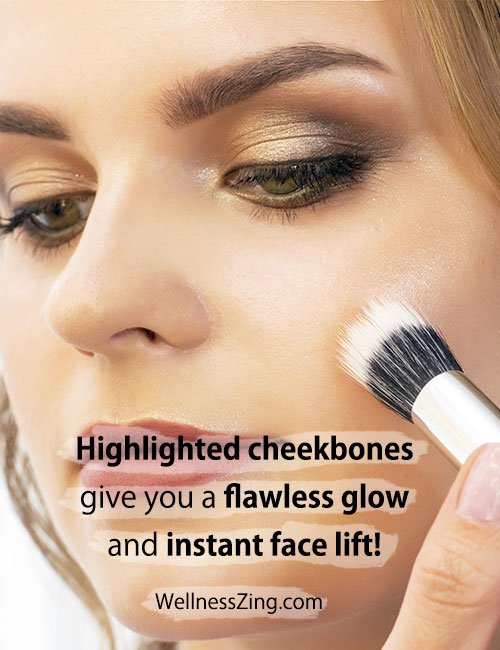 Highlighted Cheekbones give you instant Face Lift in Makeup
