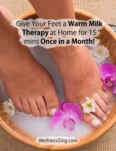 Give Your Feet a Warm Milk Therapy for 15 Mins Once in a Month