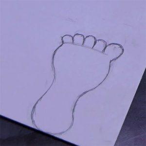 Draw Feet Shape on a Cardboard
