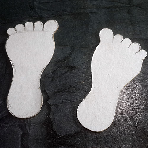 Cardboard Feet Cutouts for Rolling Feet Craft